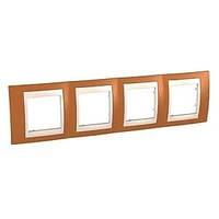 Рамка 4 пост. Unica Plus оранжевый /сл.кость MGU6.008.569