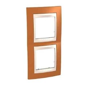 Рамка 2 пост. вертикальная Unica Plus оранжевый /сл.кость MGU6.004V.569