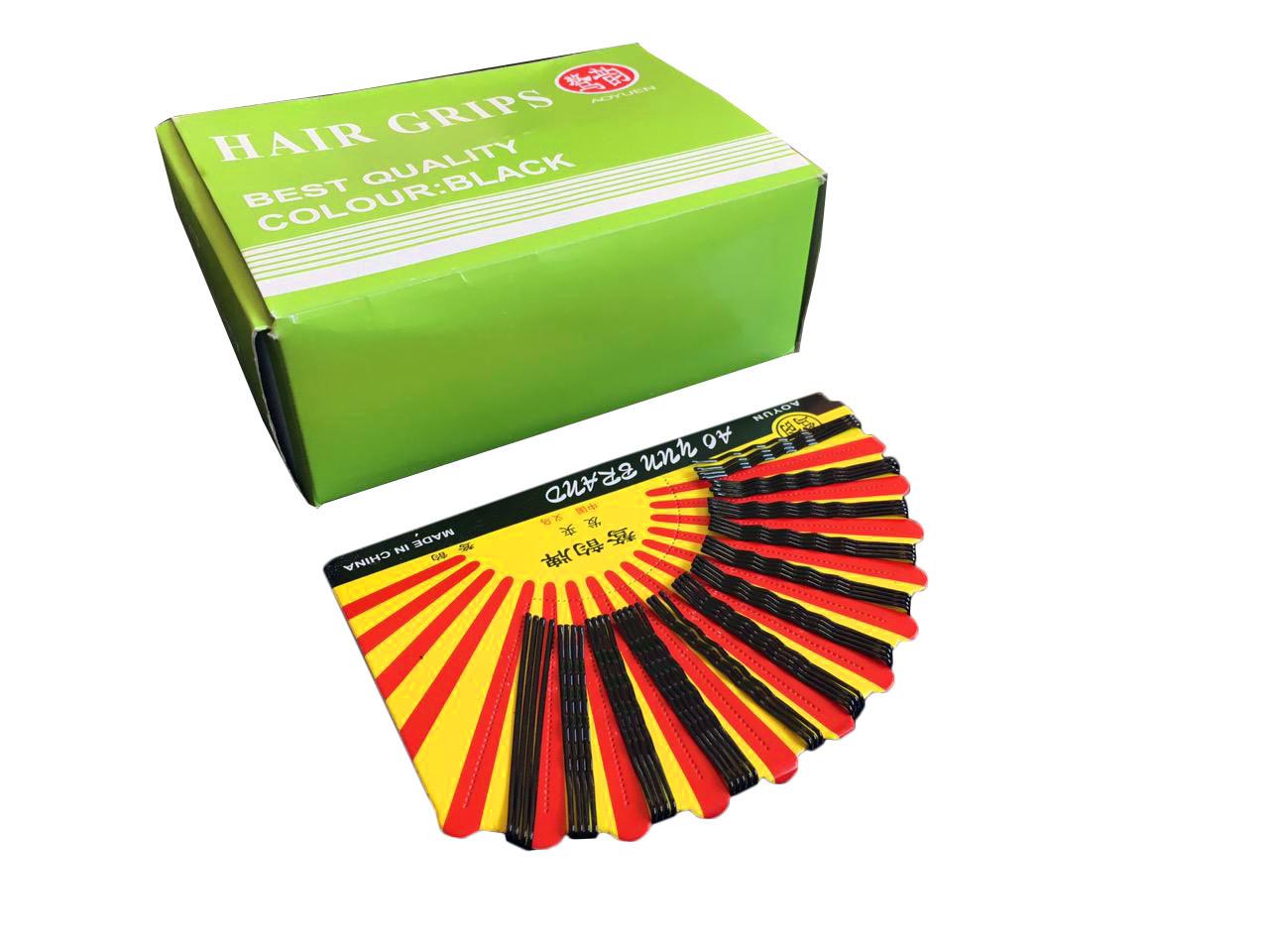 Шпилька-невидимка для волос, черные, длинна 60 мм.,  лист 48 шт.