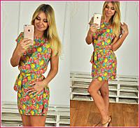 Платье-туника с принтом цитрусовых