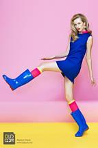 Сапоги OLDCOM женские резиновые Vivid синие с красной подошвой, фото 3