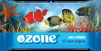 Влажные салфетки Ozone N Морская свежесть, 15 шт