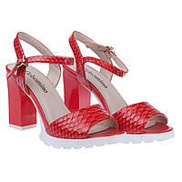 Босоножки женские Gelsomino (стильные, изысканные, удобные, на каблуке, кораллового цвета)