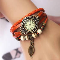 Часы-браслет на кожаном ремешке - лучший аксесуар для девушки!