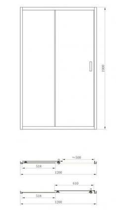 Душевая дверь Primera FRAME SDG1012 120x190, фото 2