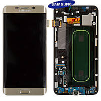 Дисплей + touchscreen (сенсор) для Samsung S6 EDGE Plus G928, с передней панелью, золотой, оригинал