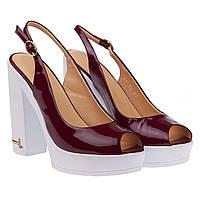 Босоножки женские Lottini (на высоком каблуке, платформе, стильные, оригинальные, бордового цвета)