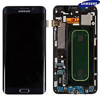 Дисплей + touchscreen (сенсор) для Samsung S6 EDGE Plus G928, с передней панелью, синий, оригинал