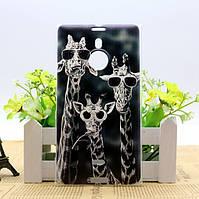 Силиконовый чехол бампер для Nokia Lumia 1520 с рисунком Жирафы