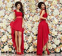 Вечернее платье на одно плечо, спереди короче, сзади длиннее