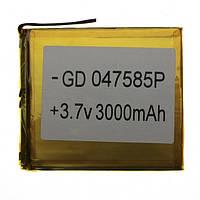 Аккумулятор литий-полимерный 047585P 3.7V 3000mAh