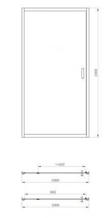 Душевая дверь Primera FRAME SDC1110 100x190, фото 2