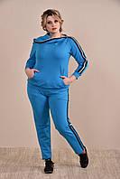 Женский синий спортивный костюм больших размеров (рр 42-74)