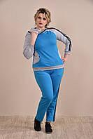 Женский синий спортивный костюм больших размеров (рр 42-74) с капюшоном