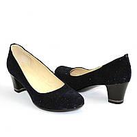 Туфли женские на каблуке, декорированные камнями, натуральный замш синего цвета, фото 1