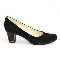 Туфли женские замшевые на невысоком устойчивом каблуке, декорированные камнями, фото 1