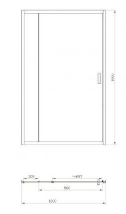 Душевая дверь Primera FRAME SDP1212 120x190, фото 2