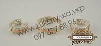 Серебряный гарнитур с золотом и фианитом Ундина