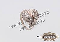 Серебряное кольцо с золотом и цирконом Устина