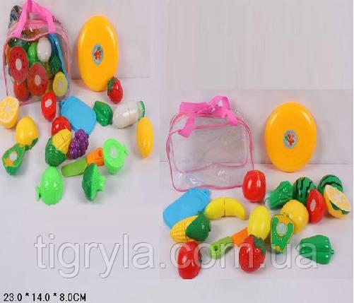 Разрезные овощи и фрукты, продукты на липучках в сумке - пластмассовые продукты на липуске, фото 2