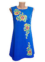 """Женское платье вышиванка """"Подсолнух"""" синее, бирюза (больших размеров)"""