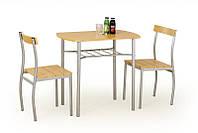 Столовый комплект Halmar Lance (стол + 2 стула) ольха
