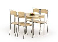 Столовый комплект Halmar Longin (стол + 4 стула) дуб светлый