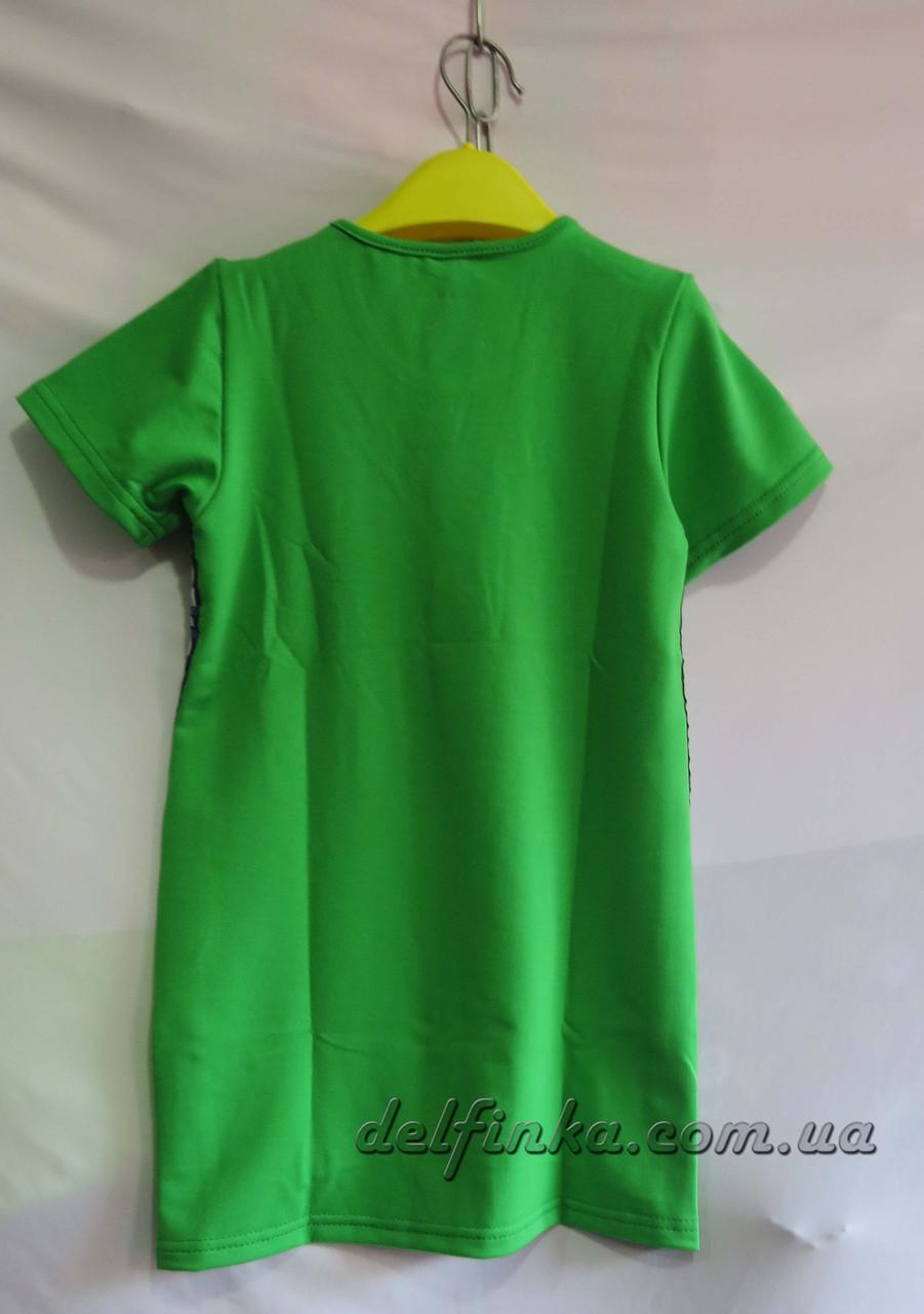 Трикотажное платье туника от 6 до 10 лет цвет зеленый, фото 2