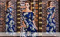 Платье цветочного принта с вырезом-лодочкой