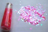 """Пленка для эффекта """"Битое стекло"""" порезанная в колбочках  розовая"""