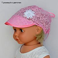 Косынка козырек. р.46-52 (1-4 года) красн.горох, клубника
