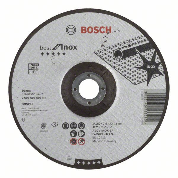 Отрезной круг Bosch Best по нержавейке 180x2,5, вогнутый, 2608603507