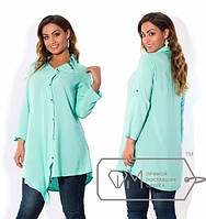Женская легкая ассиметричная рубашка в больших размерах и разных расцветках z-1515513