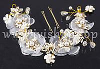 Веночек - диадема белая с цветами, жемчугом и стразами