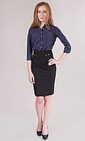 Легкая офисная модель женской юбки черного и темно-синего цвета