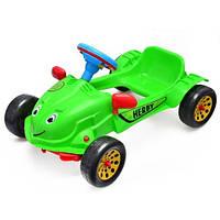 Детская педальная машина Хэрби, зеленая, музыкальный руль (09-901)