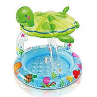 Детский надувной бассейн с навесом-черепашкой 57119, круглый, 102*107см, высота бортика 13 см