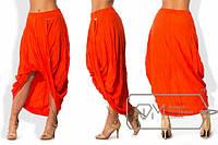 Женская асимметричная юбка из штапель в больших размерах и красивых расцветках y-1515525