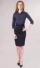 Легкая офисная модель женской юбки черного и темно-синего цвета, фото 2
