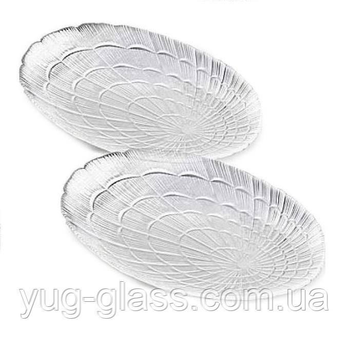 """Набор овальных стеклянных тарелок 240 мм """"Atlantis 10238 """" 2 шт."""