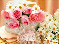 Алмазная вышивка Розы и ромашки для тебя KLN 40 х 30 см (арт. FS167) полное заполнение