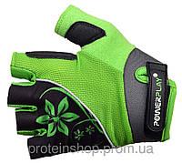 Велоперчатки PowerPlay 5281 женские Зеленый, с