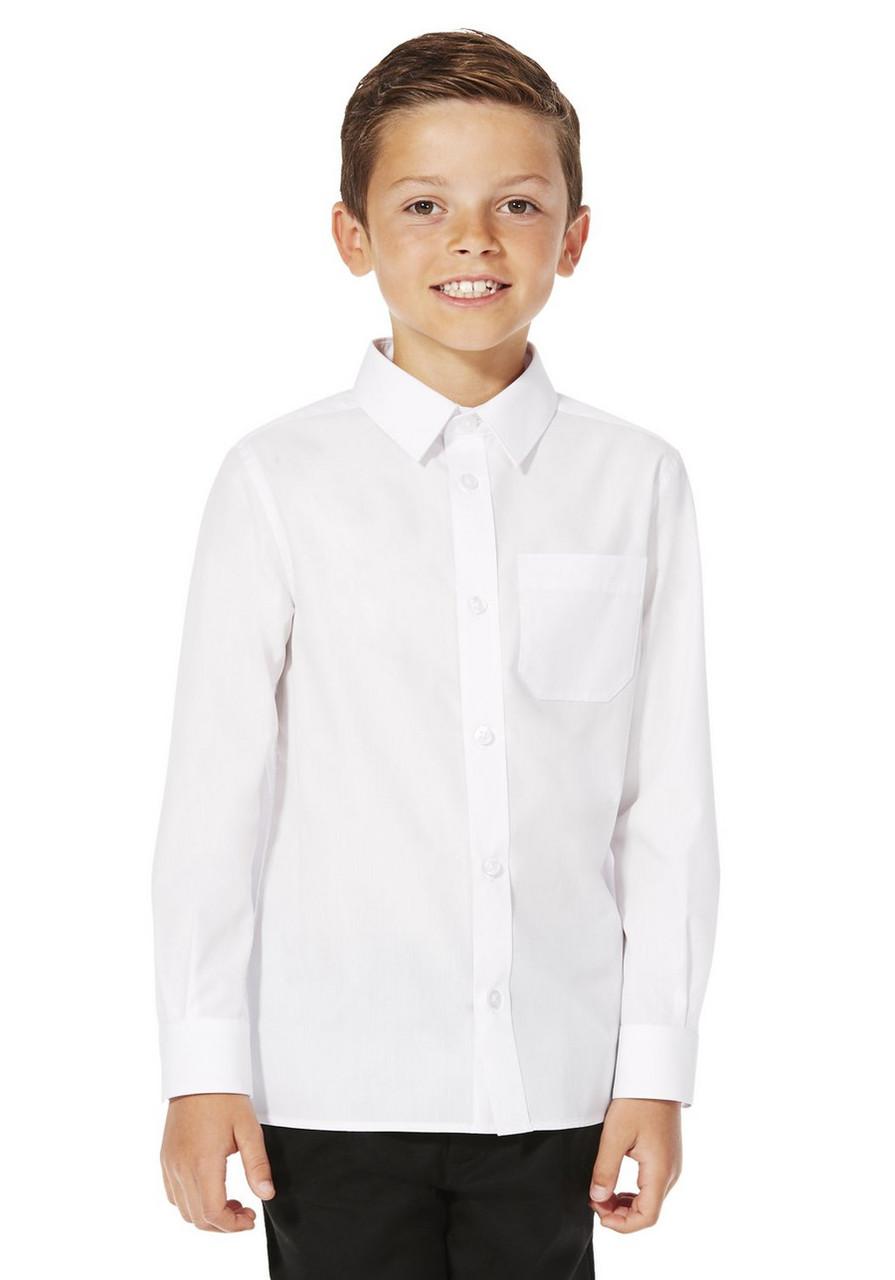 Школьная рубашка белая с длинным рукавом для мальчика Easy to Iron F&F (Англия)