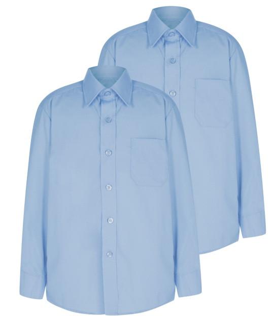 Школьная рубашка голубая с длинным рукавом Easy to Iron George (Англия)