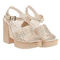 Босоножки женские Phany (золотистого цвета, модные, интересный дизайн, на высоком каблуке)