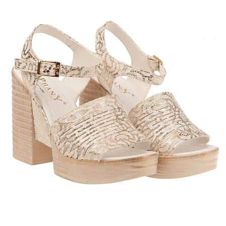 f820a53876f3 36 размер Босоножки женские Phany (золотистого цвета, модные, интересный  дизайн, на высоком каблуке)