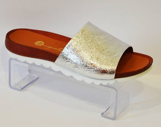 Шлепанцы кожаные серебристые Magnolya 066, фото 2