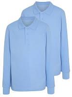 Школьные рубашки-поло голубые с длинным рукавом для мальчиков 10-11-12-13-14-15 лет George (Англия)