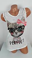 Женская футболка  Кошка с бантиком