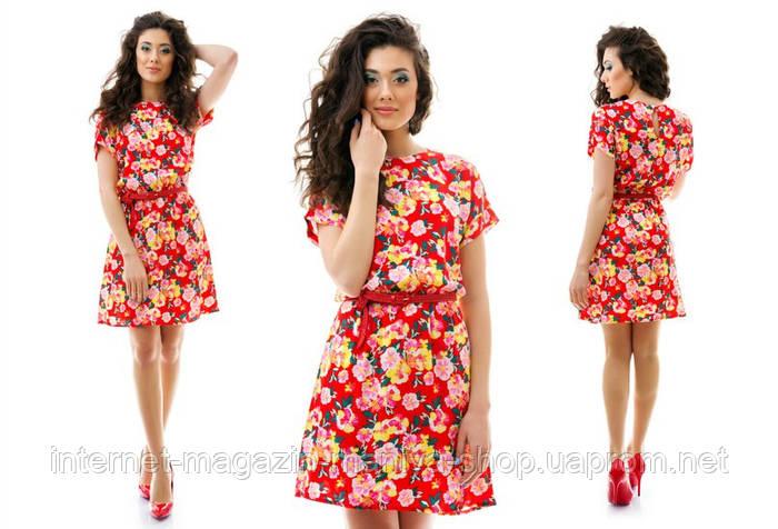 Женское платье цветы в четырёх расцветках